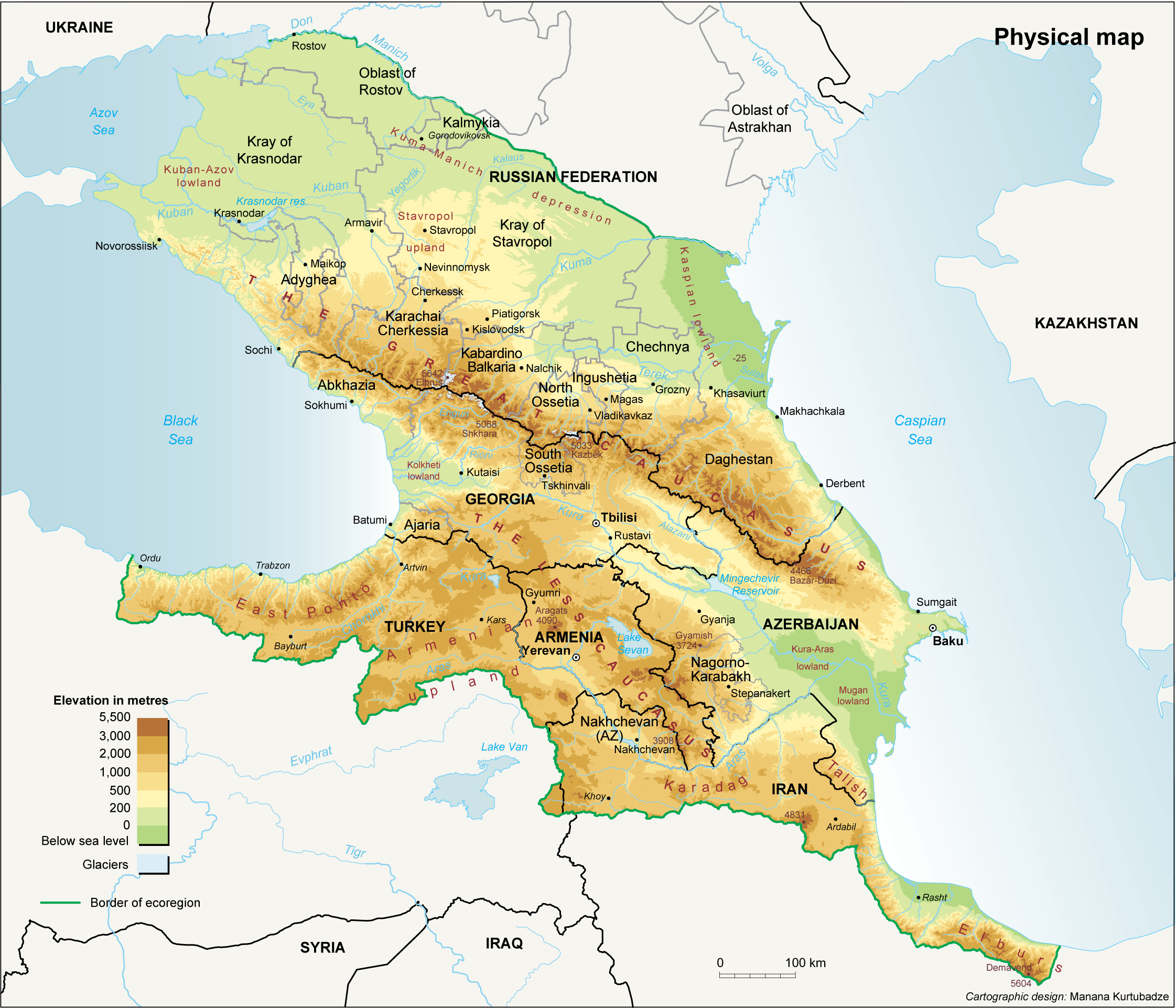 Kaukasus zwischen Schwarzem und Kaspischen Meer