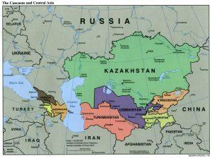 Landkarte - Kaukasus und Zentralasien
