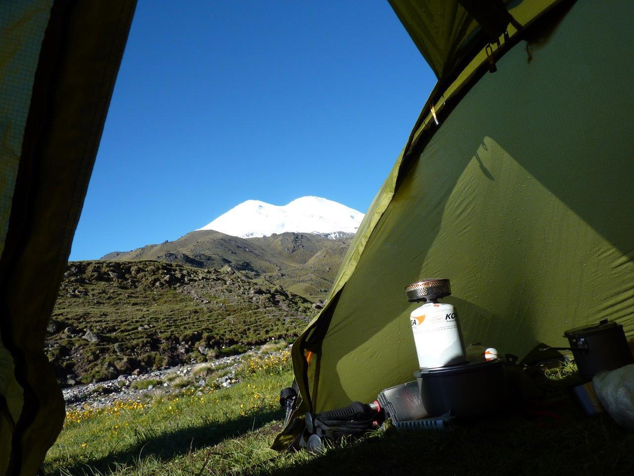 Blick vom Lager 2600 auf den Elbrus